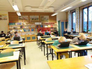 Klass 7 lär sig programmering under några veckor.